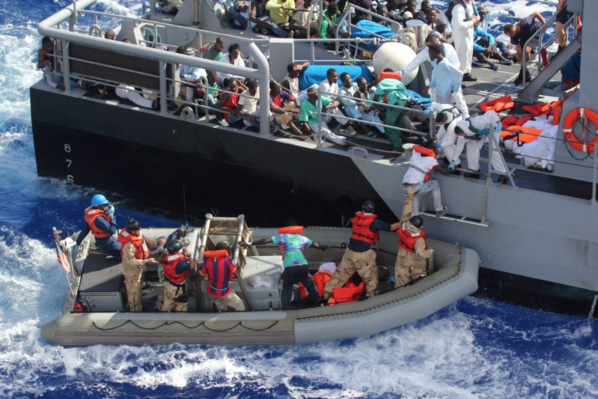 group of migrants resuced at sea