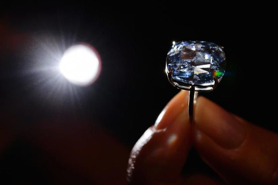 close up view of blue moon diamond ring