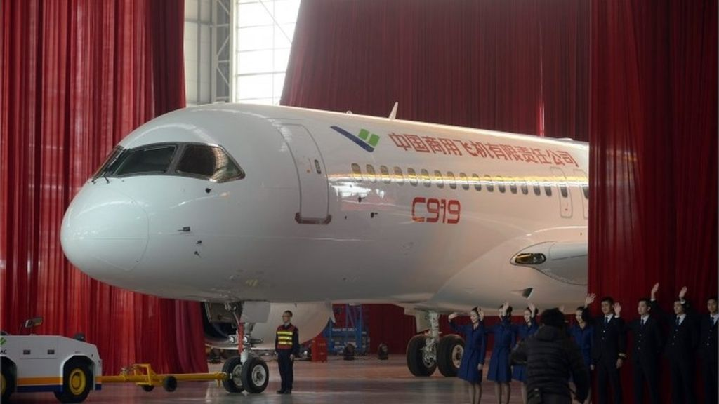 front view of c919 unveiling