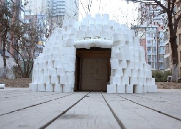 front view of an igloo built with toilet rolls