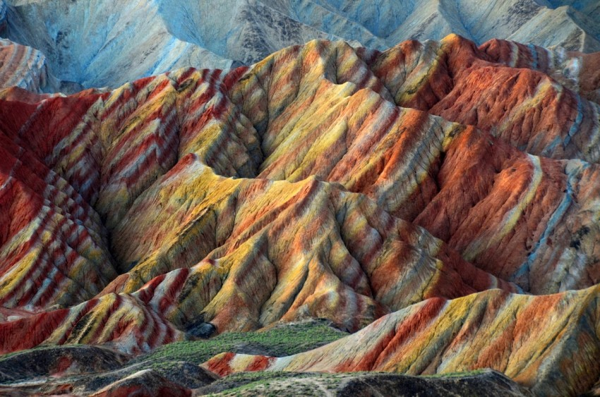 the rainbow coloured mountains from zhangye park in china