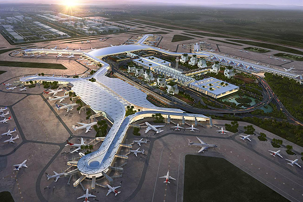 computer image of the design for the tianfu international airport in chengdu