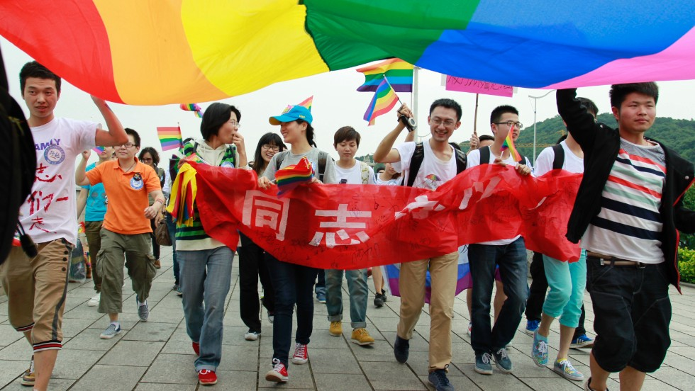 a group walking in support of LGBTI in china