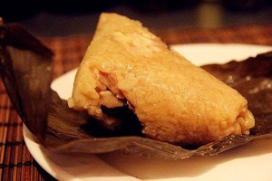 chinese food zongzi wrapped in bamboo leaf