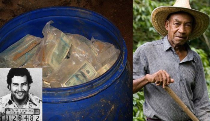 colombian farmer, pablo escobar and a bucket of money
