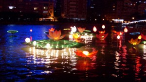 Lanterns on a Chinese lake