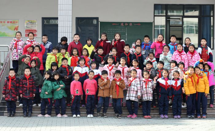 photo showing sets of twins at a primary school in china