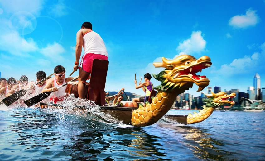 Two Dragon Boats Race