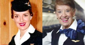 two photos of a young and old stewardess from american airways