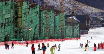 construction site next to skiing slope for beijing winter olympics