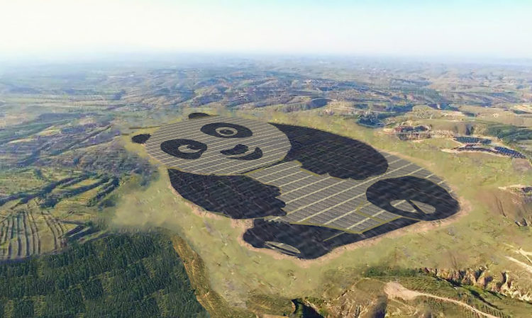 aerial view of panda shaped solar farm in china