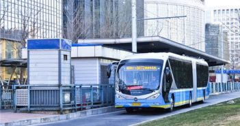 electric bus at bus stop in china