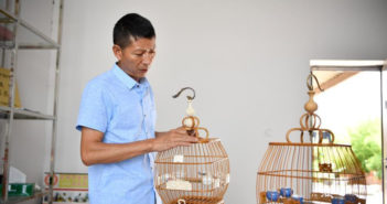 man making birdcages in china