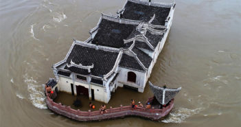 top view of a temple surrounded by a flood