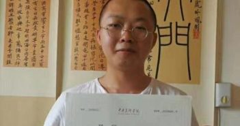 man holding university admission letter in china