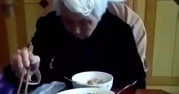 old lady eating in china