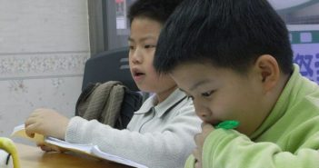 two young boys in class