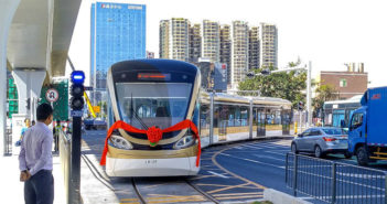front view of unmanned tram in qingdao