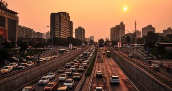 busy road at sunset in china