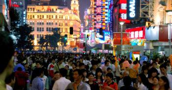 busy city centre shanghai