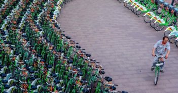 rows of shared bikes in china