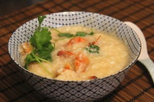 Chinese seafood porridge in a bowl