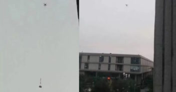 two images of a drone carrying goods