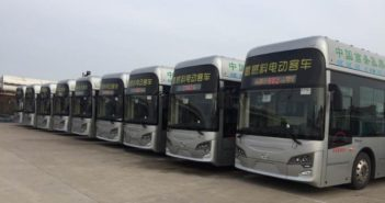 row of hydrogen fuel cell coaches in china