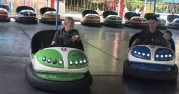 old man playing bumper cars in china