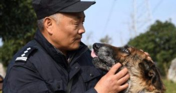 retired police officer with dog