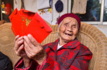 old lady with birthday hongbao in china