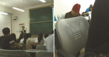 professor teaching class and mother sleeping in class