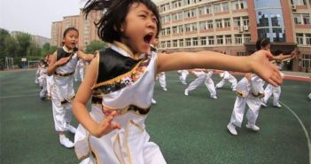 students practicing martial arts at school in china