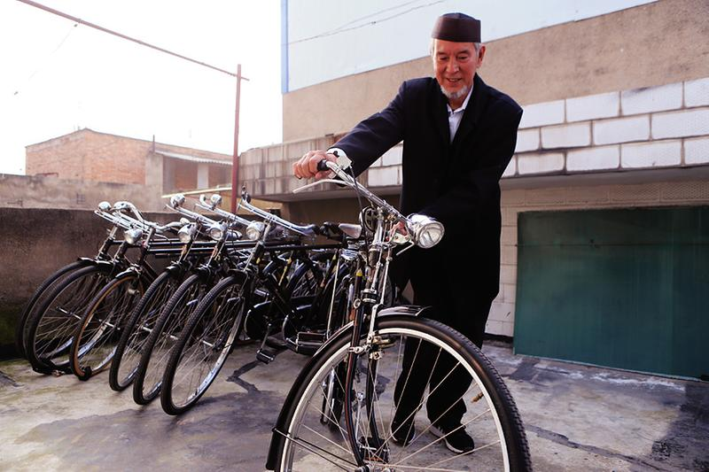 old man with bike collection