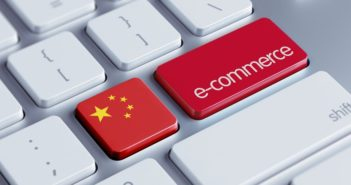 keyboard with china flag and e-commerce