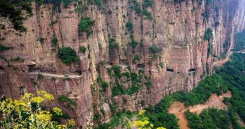 road built into mountainside in china