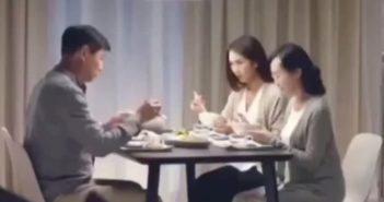 family eating dinner in ikea advert
