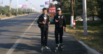 two boys on roller skates in china