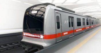 front and side view of driverless metro train in beijing
