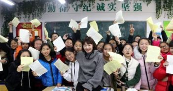 teacher with students in china