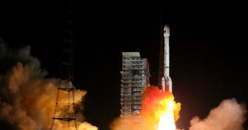 satellite launch at night in china
