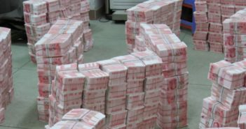 stacks of fake money in china