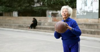 old lady playing basketball in china