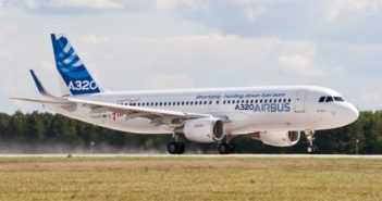 side view of airbus A320 on runway