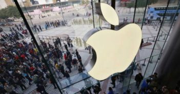 top view of apple logo in store in china