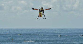 drone patrolling beach in australia