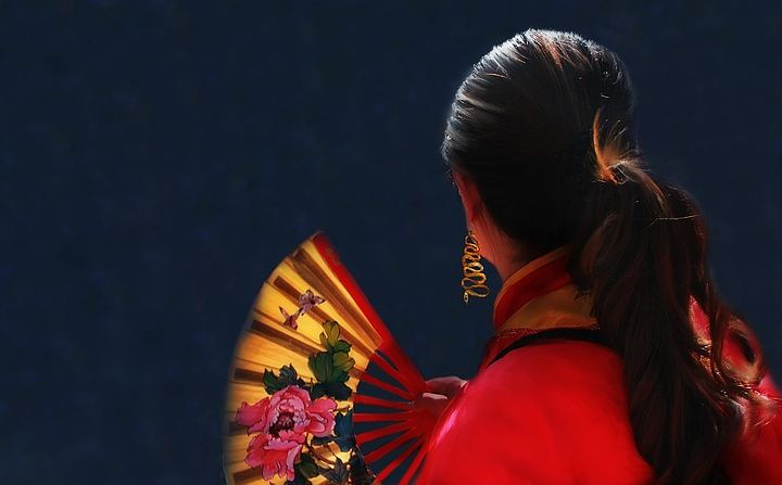 woman with traditional fan