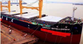 docked smart ship in shanghai