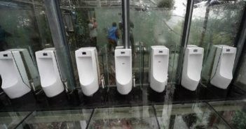 Glass bottom public bathroom at a scenic tourist spot in China