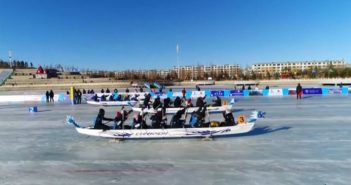 ice dragon boat race in china